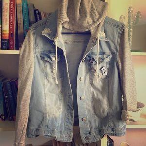 Jackets & Blazers - Distressed Denim Jacket/Hoodie Combo